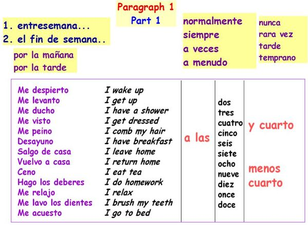 year 8 and 9 spanish unit 8 writing  paragraph 1 help
