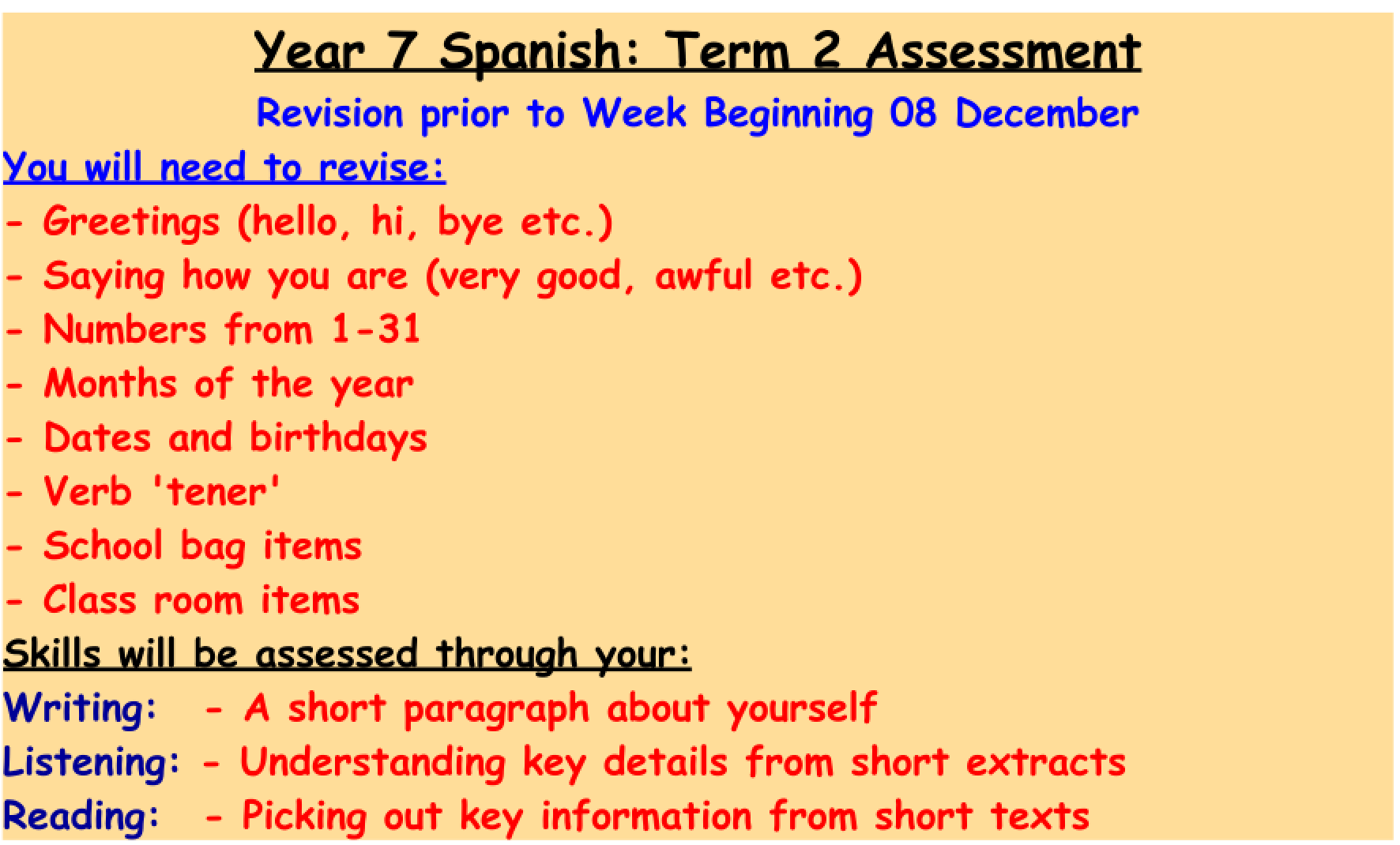 L I N G O B L O G G E R Year 7 Spanish